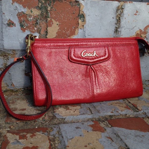 Coach Handbags - Red Coach Wristlet Wallet